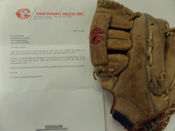This fabulous, one of a kind and very rare MLB offering is Borbons actual glove,a nd worn during the 1975-76 Reds World Series winning seasons. It shows great game usage, has his uniform number written on, and is a Mizuno Pro-Model. He left it in the clubhouse when he was traded to the SF Giants, and a team letter from the Reds accompanies for iron clad authenticity.