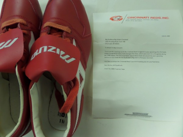 "This super well made, pure leather red Mizuno cleats were worn by Rose in 1988 while a coach of his beloved Reds, and light game usage from the all-time ""Hit King"". They are trimmed in white, clearly Pro-models shoes, and even come with a dated letter, on team stationary, and from those very same Cincinatti Reds. terrific affordable chance at Rose, and value is mid to upper hundreds we'll guess."
