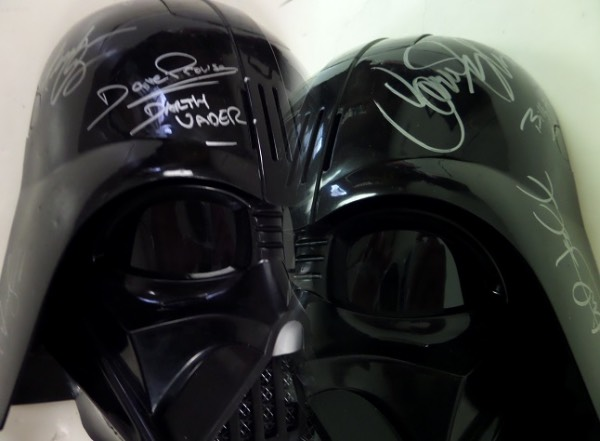 This approx. 1 foot high Darth Vader mask can be worn and is battery operated and MINT!  It is all black and comes signed in silver by 8 stars from the original hit movies!  The autographs are all in superb shape and included are MARK HAMILL, HARRISON FORD, CARRIE FISHER, JAMES EARL JONES, BILLY DEE WILLIAMS, FRANK OZ, DAVE PROWSE, & GEORGE LUCAS!  a MUST for the Star Wars collector and BV into the thousands.