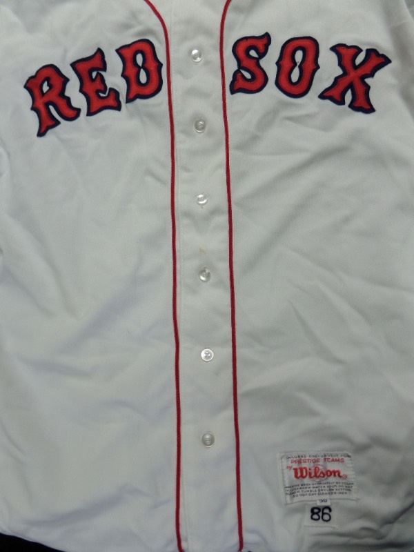 This home white #38 Boston Red Sox jersey from Wilson was actually used IN GAME ACTION during the Red Sox AL Championship season of 1986.  It has all the proper tagging at the bottom left, including an 86 sewn, denoting the year--please see picture--and has the name McGath inked on the inside.  A MUST for any true member of Red Sox Nation, with a retail into the mid/high hundreds on the game used circuit!
