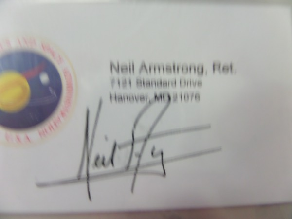 "This very rare personal business card has the color Nasa logo on it and comes black flair marker signed by the first man on the moon. He was VERY tough on autograph seekers the last 30 years of his life, his signatures can command thousands, and we believe this one was most likely signed in office, and for a colleague. Great chance at a ""Great American"" investment, and the autograph is a beauty."