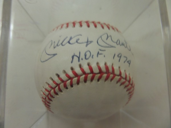 "This just about perfect NYY collectible is a mint, official AL ball, and comes blue ink, sweet spot signed by the Mick. Even better, he has written ""HOF 1974"", value is now about a grand, and Lee promises it to pass any authenticity test! You just will not find nicer, and just look at our super low starting bid price."