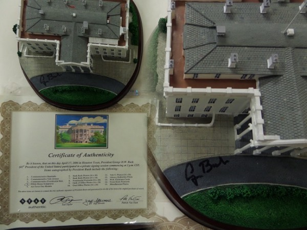 This original and mint White House sculpture is stunning and comes right to us from the Patrick Van Tiem private signing he had in Houston in 2006 with former President Bush!  It is signed on the perfect spot in black sharpie by this recently deceased Prez. and the piece comes with photo of him signing it and full certification and guarantee as to authenticity! Retails now WELL into the thousands and 1 of the nicest Presidential items that you will ever see.