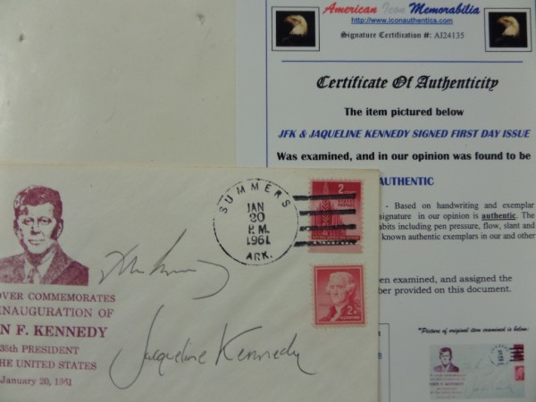 This January 20, 1961 stamped cachet commemorates the Inauguration of John F. Kennedy, and comes black ink-signed by the man himself, as well as his First Lady, Jacqueline Kennedy!  Signatures are 7.5's at least, and come certified by American Icon Memorabilia for authenticity.  A real find for those interested in Americana collector's items, and retail is thousands!