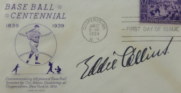 This great-looking, historic baseball collector's item is a First Day Of Issue cachet, stamped from Cooperstown, June 12, 1939, and commemorating the Baseball Centennial.  It is hand-signed boldly in black fountain pen ink by 1939 HOF Inductee Eddie Collins, grading a strong 8-8.5 overall, and retail here is low thousands from the long-deceased HOF second sacker!