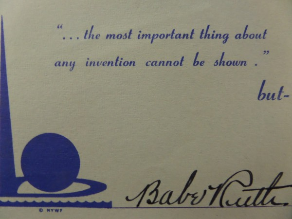 This 3.5x5.5 card is from the 1939 World's Fair, and features a quote from Abraham Lincoln about patents and invention which goes from front to back.  It is front-signed in black fountain pen ink by the most inventive of ballplayers, the greatest of all time, Babe Ruth, and the signature grades a very strong, bold overall 8-8.5!  Valued into the low thousands!