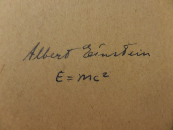 This approximately 3.5x5.5 brown album page cut comes hand-signed boldly in black fountain pen ink by scientific genius, Albert Einstein.  This is a very bold, well-kept signature, grading a legible overall 7, and including his famed E=MC2 equation, and with his death now more than 60 years ago, retail here is very high hundreds!
