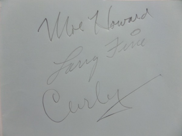 "This vintage, light blue autograph collector's book page measures about 4.5x5.5, with rounded edges on the right hand side, and neatly cut on the left.  It is pencil-signed by the three most well known ""Stooges"", including Moe Howard, Larry Fine, and Curly, the signatures having faded through time, but still grade 5's each and will mat and frame exquisitely with the photo of your choice.  Super RARE and valued well into the hundreds!"