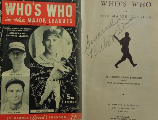 "This vintage ""Who's Who In the Major Leagues"" booklet is still in VG+ shape overall, and comes inner title page-signed in pencil by the greatest of them all, Yankees HOF icon, Babe Ruth.  This is a big Ruth signature, grading a 7, and including a Sincerely inscription, and the book will make for a wanted addition to any baseball collection.  Valued well into the thousands!"
