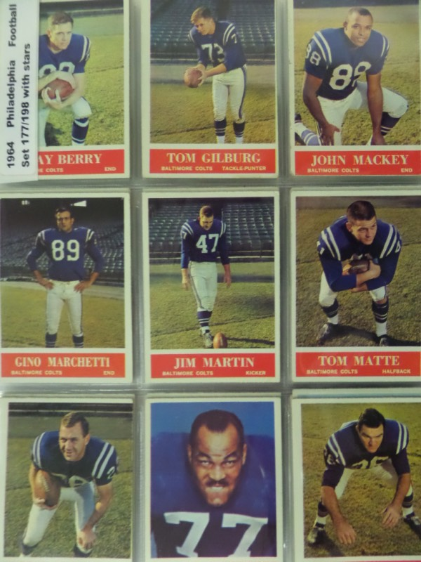 This lot is 177 of the possible 198 cards in the complete set, and does NOT look to have been picked over. I see many HOF'ers appearing, all are in great shape, and even set in pages for you already. I see Unitas, Jurgensen, Berry, Mackey, Jim Brown, Don Meredith, team cards, Hornung, Starr, Taylor, M.Olsen, Terkenton, Giffoed and many more! Wow-whats the value here?