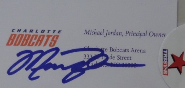 "This VERY rare sports item is his own personal business card from the Charlotte Bobcats and lists him as the ""Principle Owner"". It comes blue sharpie signed, grades a clean bold and perfect 10 all over, and comes sealed in a lucite holder, with the Tri-Star ""Hidden Treasures"" seal. Terrific chance, value has to be $1300.00 or more, and we dare you to find another one."