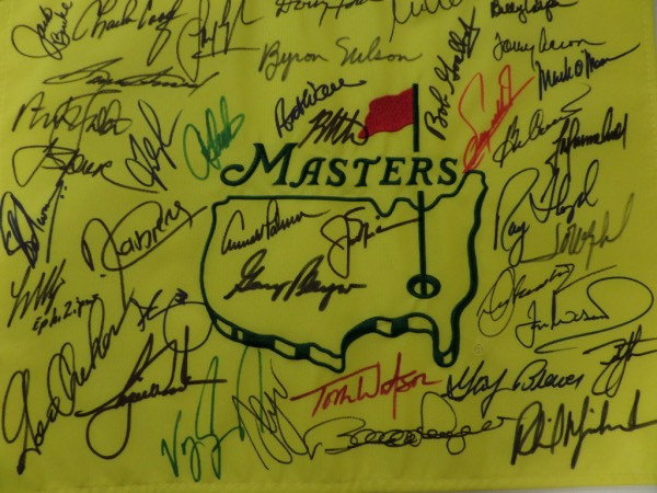 This is the 13th pin flag we have sold, with ZERO returns! It is well made, a real pin flag from Augusta, site of the prestigious Masters Tournament, and comes sharpie signed by about 30 previous winners. No garbage here, just winners, and names like Mickleson, Palmer, Nicklaus, Watson, Sinjh, Floyd, Player, Byron Nelson, Tiger Woods, Casper, O'Meara and a ton more! Grade is a clean, bold and IN PERSON obtained 10, and values can reach mid-thousands on a solid sports buy and hold investment such as this.