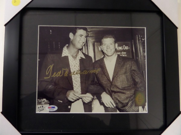 This rarely seen 1952 B&W 8x10 image shows both Ted and Mickey Mantle at a banquet, dressed up, and smiling for the cameras. It comes gold paint pen signed by Ted, then matted and wood framed to you, and has BOTH the PSA numbered hologram, and Ted's own Green Diamond hologram and lifetime LOA intact. Great chance, obviously real with TWO high value COA's, and sold here at, or above this price.