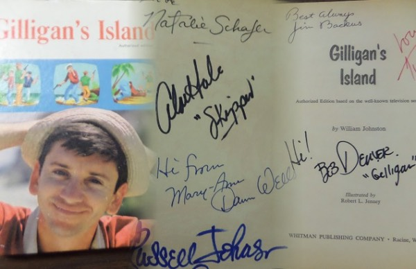 This vintage hardback comes hand signed by all 7 castaways and grades as good as it gets. All but 2 are now deceased, and the 3 year long, 1964 comedy lives on forever! Of course Bob Denver, Jim Backus, Tina Louise, Dawn Wells and the rest have signed, and value, with our guarantee that it will pass JSA, PSA or any other test, is $1500.00.You will NOT be disappointed!