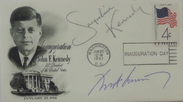 This January 20, 1961 stamped cachet commemorates the Inauguration of John F. Kennedy, and comes blue ink-signed by the man himself, as well as blue ink-signed by his First Lady, Jacqueline Kennedy!  Signatures are 8.5's at least, and was obviously signed during his Presidency, at least by JFK.  A real find for those interested in Americana collector's items, and retail is thousands!