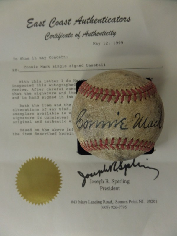 This vintage, red-laced offering is in G+/VG overall condition, and comes sweet spot-signed in bold black fountain pen ink by one of baseball's most immortal figures, HOF A's Manager/Owner, Connie Mack.  The signature grades a strong, legible 7-7.5, including an 8-2-52 dated inscription, and the ball comes with a full LOA from East Coast Authenticators for authenticity purposes.  Tailor-made for any baseball collection and valued at over a hundred times our very skinny minimum bid!