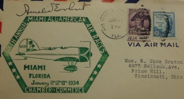 This super high value Great American investment piece is a dated, stamped and cancelled First Day Cover, comes dated from 1934, and is ink signed by the lost air star. She has signed it in ink, grade all over is an honest 8, and it honors the famous Miami Air Races. Cool piece, sold with NO reserve, and a must have for all autograph collectors.