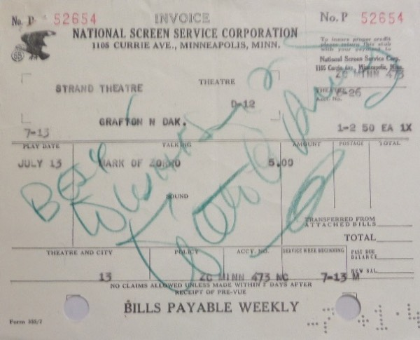 This National Screen Service Corporation Strand Theatre full invoice is still in EX+ condition, and measures about 5.5x7 in size.  It is hand-signed in green artist's pencil by the entertainer/animator/innovator himself, grading about a 7, and including a Best Wishes inscription.  Can frame and display on its own, or with any Disney flat item, and retail is high hundreds!