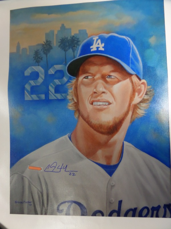 This 24x31 litho print is done on canvas and comes from an original artwork of famed sports artist, Gregg Packer.  It is a full color, close up image of 3 time Cy Young winner and Dodgers ace lefty Clayton Kershaw, and comes blue sharpie-signed by the future HOF hurler himself.  Ideal for framing and display and valued well into the hundreds!