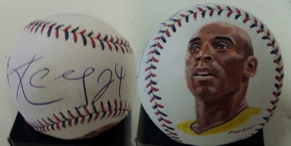 This Official 2010 MLB All Star Game Baseball from Rawlings is in NM condition, and features a color image of Lakers all time great Kobe Bryant on the bottom panel, hand-painted by legendary sports artist, Gregg Packer.  It also comes blue ink-signed against the sweet spot by the future NBA HOF'er himself, and will show off spectacularly in any sports collection!
