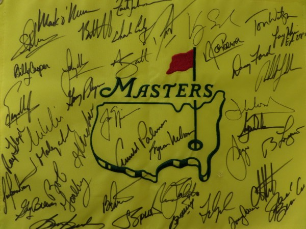 This simply stunning PGA collector's item is a MINT yellow Masters pin flag with the logo embroidered in the center.  It is hand-signed in black sharpie by no less than 41 past champions of the Augusta major, including Nicklaus, Palmer, Nelson, Faldo, Floyd, Weir, O'Meara, Johnson, Casper, Scott, Woods, Langer, Mickelson, Watson, Singh, Mize, Watson, Player, Immelman, Goalby, and so many more.  A fabulous item, and MUST for framing and display, with a retail into the thousands!