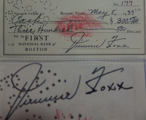 This GORGEOUS check is from First Bank of Boston and is written and signed by Jimmie in his own hand to cash!  It is for $300 and comes signed on both the front and back by this legendary HOFer. First one I have seen in auction and as nice as it gets and retails well into the thousands.
