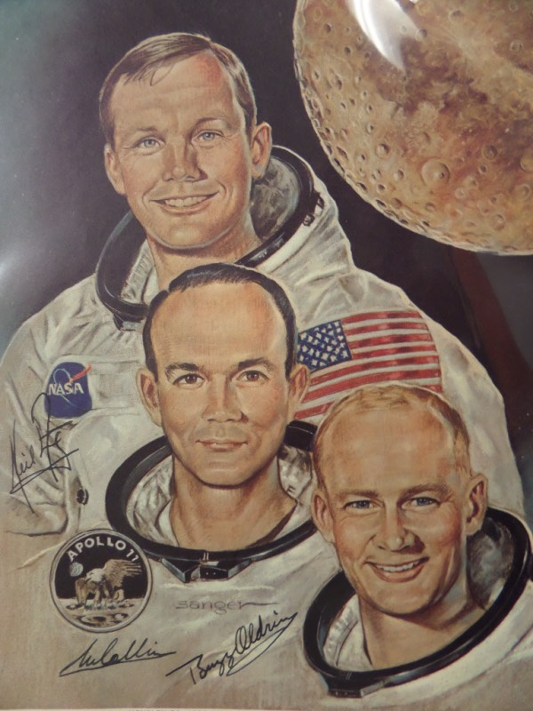 This color 8x10 print is a great depiction of this legendary moonwalking crew and in NM shape.  It comes signed by all 3 of these NASA astronauts in black and included are MICHAEL, NEIL, & BUZZ, and the signatures look fantastic.  Valued into the high hundreds!