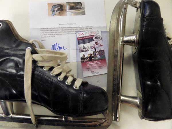 This HOF display worthy pair of skates belonged to the NHL HOF great and show nice usage. The LOA from the 1980 Team USA star and Captain Mike Eruzione says that they are circa 1960's, and a JSA approved signature and letter accompany. Great item, certain provenance, and value is most likely mid-thousands on an impossible GU item from a true Beantown legend.