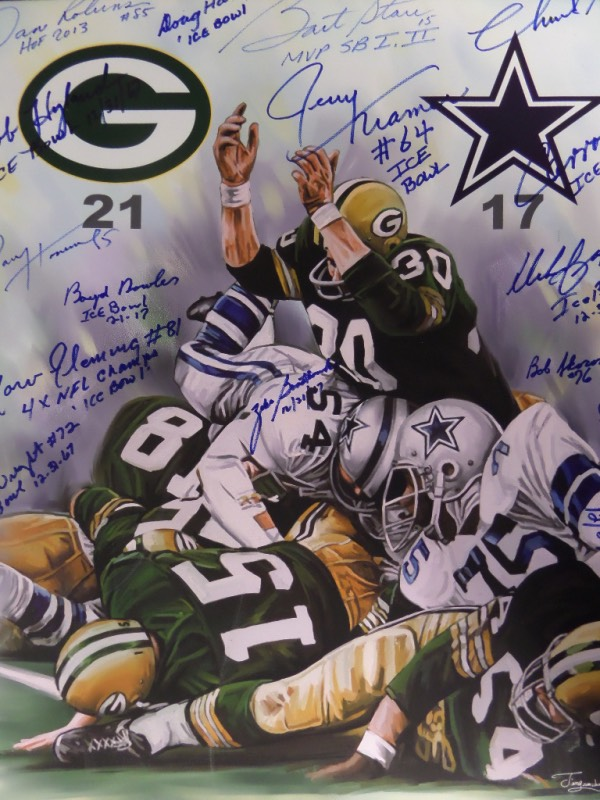 This fascinating 1967 themed NFL work is on canvas, mounted to a frame backing, and measuring 20x24 in size, and shows the Bart Starr QB Sneak scene in full color.  It comes blue sharpie signed by 15 members of the championship squad and includes stars like Bart Starr, Willie Davis, Dave Robinson, Marv Fleming, Jerry Kramer, Paul Hornung, and more. It grades a 9 or better all over, value is $2000.00 on this Lambeau Field beauty, and we're starting the bidding at a mere 1% of that!!!
