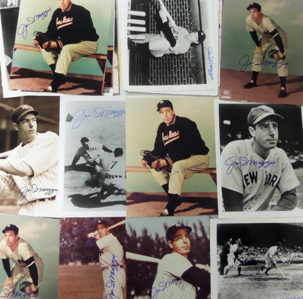 This sky high retail lot is FIFTY 8x10 photos of the great DiMaggio, with many different shots and poses, many B&W and many color.  One thing that they all have in common is that they all bear the signature of the HOF Yankee Clipper himself.  Signatures are in clean, clear blue sharpie, and range from 7.5's to perfect 10's overall.  Each has a book value at $300-350, and it does not take a genius to see how much money can be made off of this ONE TIME ONLY group chance, so get in on our Crazy Eddie style minimum bid, because our prices are .... INSANE!!!!!!!!!!!!!!!