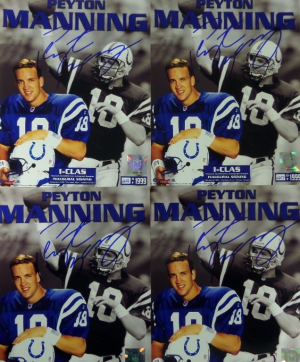 This one of a kind chance is FOUR full color Peyton Manning Colts color 8x10 photo collage prints, each numbered from a limited edition of 1999.  They are from the February 12, 1999 I-Clas Internet Certified Live Autograph Signing Inaugural Signing, and each is beautifully penned in bold blue sharpie by the now-HOF QB himself.  This is an absolutely MUST HAVE lot, especially for Manning collectors, and total retail here is easily into the thousands.  With our bargain basement minimum bid, you might just be able to steal it at a fraction of that!