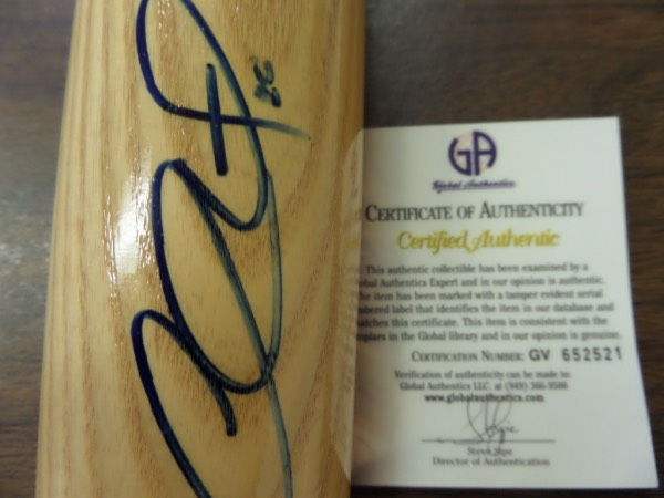 This blonde Adirondack Big Stick baseball bat from Rawlings is in NM/MT condition, and comes beautifully hand-signed on the barrel in blue sharpie by Phillies/Dodgers star 2nd baseman, Chase Utley!  This is a stunning signature, grading a 9 at least, and the bat comes certified by GAI (GV 652521) as an added bonus!  GREAT Phils/Dodgers item, and with his HOF chances fairly decent, retail is mid hundreds!