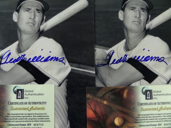 "This fine lot is perfect for those with the ""sell one and keep the other"" mentality.  It is two black and white 8x10 photos of the great Ted Williams, and each is blue sharpie signed by the 2 time Triple Crown winning, HOF Red Sox outfielder.  Each is fully ""GAI"" certified (GV424710 & GV424709), and together, they value at $600.00-800.00!"