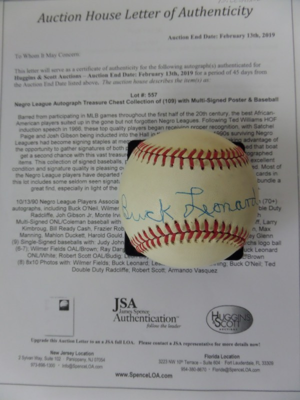 "This Official National League Baseball from Rawlings is in VG+ overall condition, and comes sweet spot-signed in blue ink by the ""Black Lou Gehrig"" himself, HOF Homestead Grays 1st sacker, Buck Leonard.  Signature here is a respectable 7 overall, and the ball comes with a copy of the original Huggins & Scott Auction group LOA for authenticity purposes.  A piece no Negro League collection should be without from a long-deceased HOF giant, and retail is well into the hundreds!"