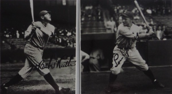 This MUST HAVE baseball history lot is TWO different black and white photos, one a 3x3.75 black and white photo of Babe Ruth, and the other a 3.75x3.75 photo of Lou Gehrig.  Each is hand-signed in black fountain pen ink by the corresponding New York Yankees legend, and with both men now gone 70+ years, the total retail value is thousands upon thousands upon thousands!