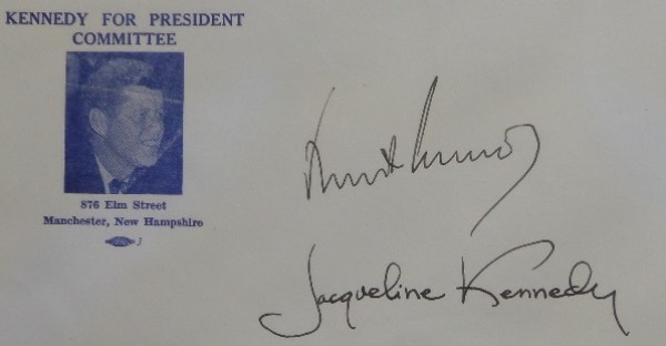 This 4x9.5 full size envelope was from the Kennedy For President Committee, with a black and white image of JFK on the left hand side.  It is hand-signed in black fountain pen ink by the 35th US President and his First Lady, and each grades a bold, clean, and legible 8 or better!  With both now deceased, retail on this gorgeous signature is thousands!