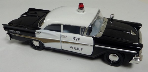 "This STUNNING collector's item is part of the July 2019 Coach's Corner ""Carfest!""  It is a MINT 1:32 scale beautiful replica of a 1958 Ford Fairlane 500 Rye NY Police car, with fabulous attention to detail, and sits in a NM lucite case for display.  A MUST for collectors, and retail is into the hundreds!"