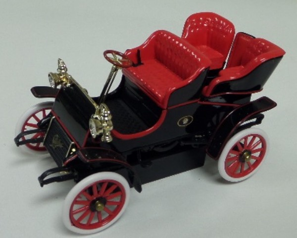 "This STUNNING collector's item is part of the July 2019 Coach's Corner ""Carfest!""  It is a MINT 1:32 scale beautiful replica of a classic 1903 Caddy, with fabulous attention to detail, and sits in a NM lucite case for display.  A MUST for collectors, and retail is into the hundreds!"
