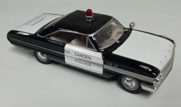 "This STUNNING collector's item is part of the July 2019 Coach's Corner ""Carfest!""  It is a MINT 1:32 scale beautiful replica of a 1964 Ford Galaxie Camden Police Department vehicle, with fabulous attention to detail, and sits in a NM lucite case for display.  A MUST for collectors, and retail is into the hundreds!"