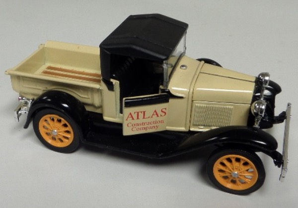 "This STUNNING collector's item is part of the July 2019 Coach's Corner ""Carfest!""  It is a MINT 1:32 scale beautiful replica of a 1926 Ford Pickup Model 76A Roadstar Atlas Construction Company, with fabulous attention to detail, and sits in a NM lucite case for display.  A MUST for collectors, and retail is into the hundreds!"