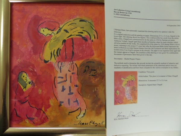 This super high value, original by hand artwork comes from master Marc Chagall and depicts a colorful bible scene and theme. It comes framed in god medal, measures near 11x14 in size, and yes, comes hand signed by Chagall as well. It has TWO important LOA's with it, one from National Fine Arts, the other from Luxemborg authenticator Herman Durer. Look him up, then bid accordingly on this too easy art investment.