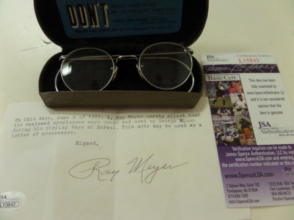 This rare, incredible, and sought after NBA HOF worthy item is a p[air of his own glasses, and worn by the late Mikan while at DePaul Univ.  A JSA certified note is included from HOF Coach Ray Meyer, and value of the 1983 note, the glasses, and Jimmy Spences ok are thousands! An impossible display item, and sold here with NO reserve.