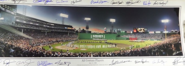 This special, and probable one of a kind HOF worthy item is a 3-foot long, full color panoramic photo, and shows the 1999 Boston held event, and with all of the players taking the field at Fenway Park. It comes hand signed by almost everyone in bold sharpies, signers include Bench, Aaron, Schmidt, Ryan, Koufax, Griffey Jr., Berra, Mays, Clemens, Musial, Cap Ripken Jr., and even some special guy named Ted Williams. Wow...what a must have and must frame MLB piece!,