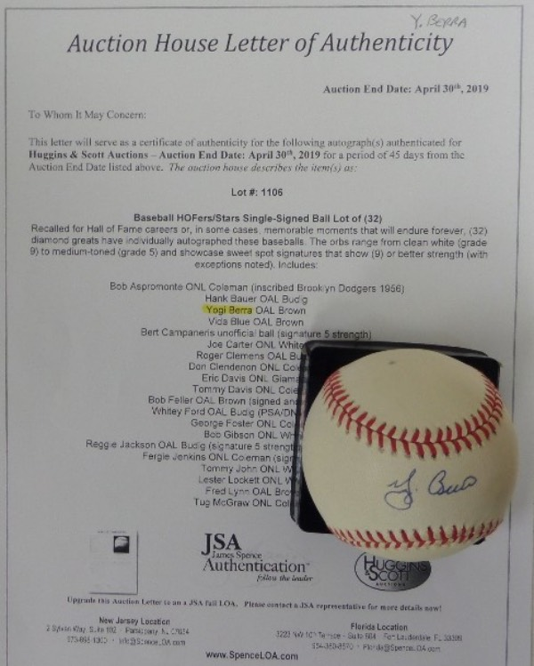 This Official American League Baseball from Rawlings is in EX+ condition overall, and comes sweet spot-signed in blue ink by Yankees all time great and HOF catcher, Yogi Berra.  Signature here grades an 8 at least, and the ball comes with a copy of the original Huggins & Scott Auction JSA group LOA for authenticity purposes.  Valued well into the hundreds!