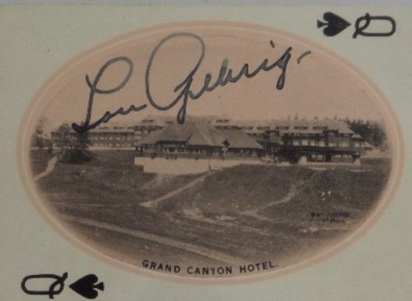 This very old Yellowstone Park Queen of Spades playing card is still in outstanding shape, and comes hand-signed in fountain pen ink by Yankees all time great, Lou Gehrig.  This is a nice, legible signature, grading an overall 7, and with the Iron Horse's untimely death now approaching 80 years ago, the retail on this compact but powerful piece of memorabilia is THOUSANDS!