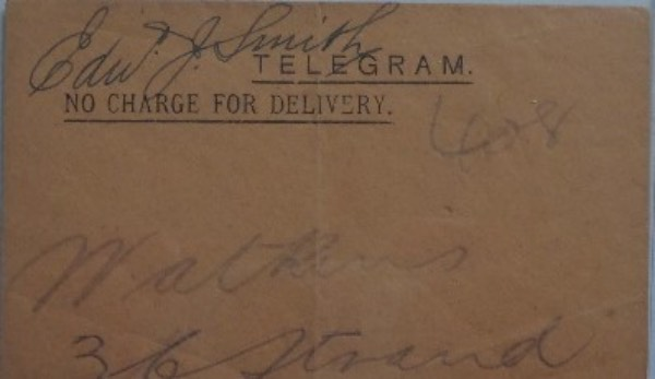 This very old, almost orange-colored telegram envelope is still in fabulous condition, measuring approximately 3.5x5 in size.  It is hand-signed at the top in what looks to be black ink, the signature grading a very solid 6 overall.  A perfect piece to combine with a photo, Titanic Newspaper, etc for an amazing framed and matted display, and with his death now over 100 years ago, retail is thousands!