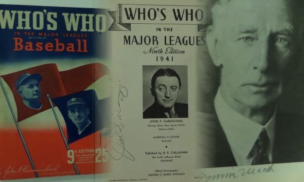 This vintage 1941 Who's Who In The Major Leagues Baseball is still in EX+ condition overall, and comes pencil-signed on two different pages by HOF greats Joe DiMaggio and Connie Mack.  Joe D. is on the inner title page, and Mack resides on page 3, and the signatures are strong!  With both all time greats long gone, retail here on this historic MLB item is well into the stratosphere!