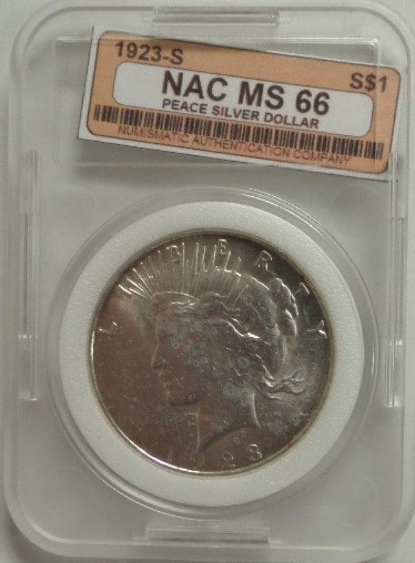 This incredible investment lot is a slabbed and professionally graded numismatic must have, and the rare 1923 S coin, real silver, and grading a spectacular MS 66 says the Numismatic Authentication Company. It is bright as the day is long, a solid coin buy and hold investment, and valued at many times our starting bid price.