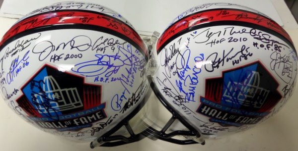 This mint, stunning full-sized Riddell helmet has the colorful NFL HOF logos on both sides, and comes IN PERSON signed by over 50. I see some amazing, super high value names appearing-guys like Namath, Bradshaw, Emmitt, Staubach, Starr, Montana, Dorsett, Elway, Hornung, Marino, Jurgensen etc. Great display, guaranteed by Lee real, and with both new and old names appearing.