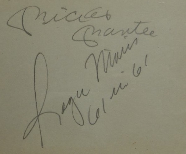 This page comes directly from an original autograph collector's album, with rounded edges on the right, and is in EX+ condition overall.  It is pencil-signed by the M&M Boys, Mickey Mantle and Roger Maris, grading a 7.5 overall, and Maris included a 61 in 61 inscription.  With both men long gone, this piece is valued well into the hundreds!